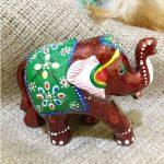 Слон деревянный с красной эмалью №4  7*h5,5см