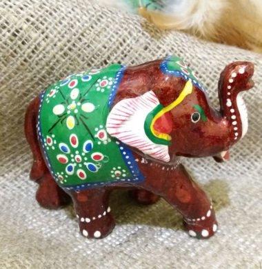 Слон деревянный с красной эмалью №5  9*h7см