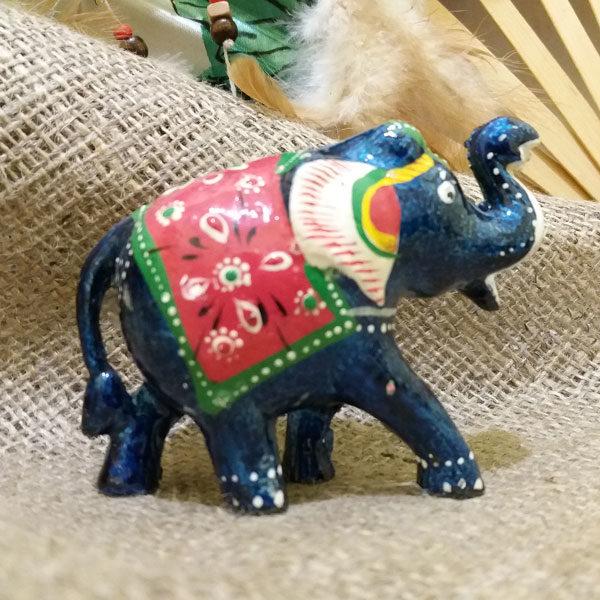 Слон деревянный с синей эмалью №3  6,5*h4,5см