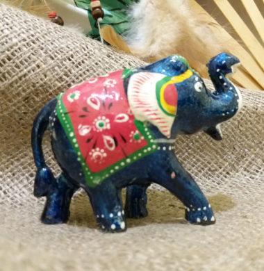 Слон деревянный с синей эмалью №5   9*h7см
