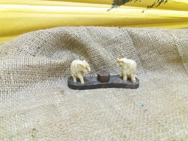 Подставка под благовония 2 Слона из камня 11х4см