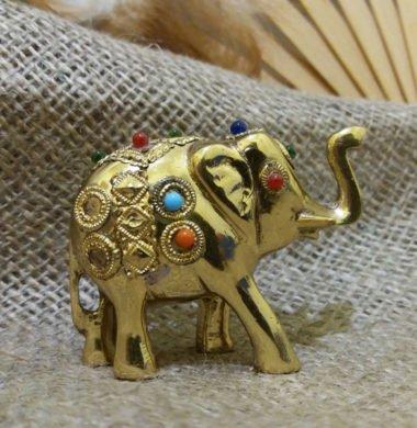 Слон металлический с камнями  5*h4см