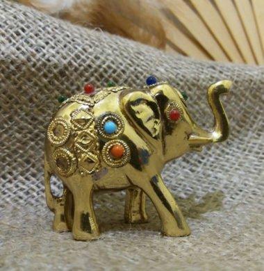 Слон металлический с камнями  6*h5см