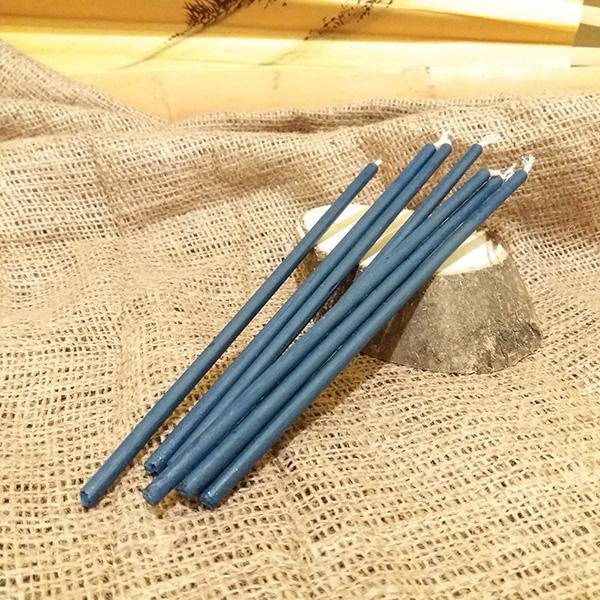 Свеча синяя воск L 20см, d 6мм