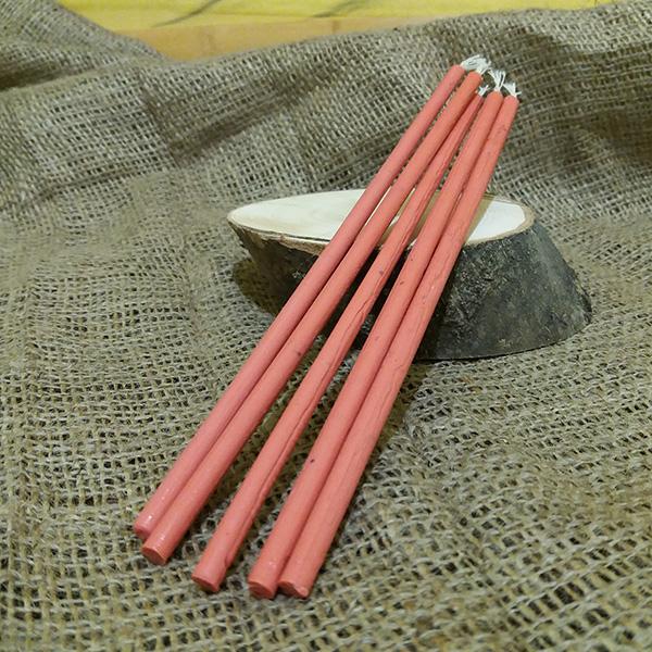 Свеча розовая воск L 20см, d 6мм