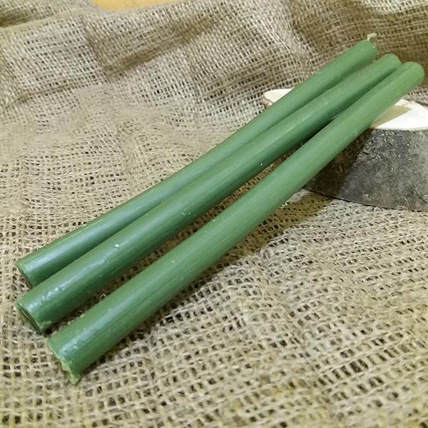 Свеча зеленая воск+парафин d 1см, h 22см