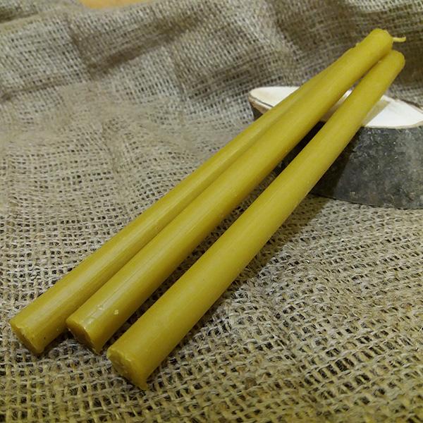 Свічка жовта віск з парафіном h 205 мм d 10мм