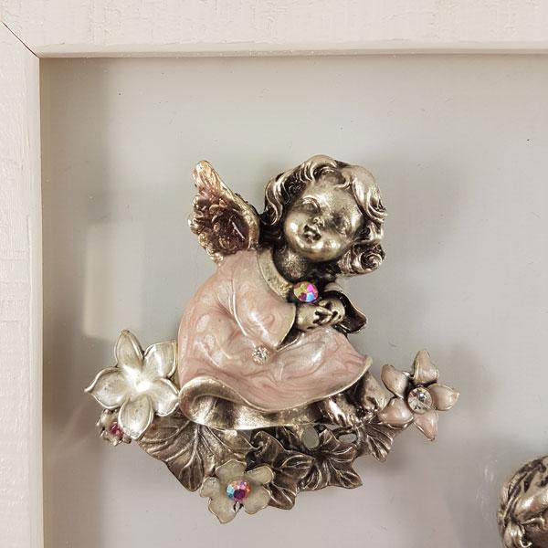 """Картина """"Два янголятка"""" / на склі, в рамці / 260х260мм"""