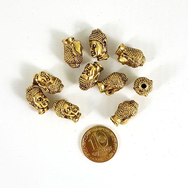 Підвіска голова Будди / під золото / h 1,3 см